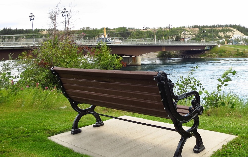 Bench on Yukon River looking at Rotary Park