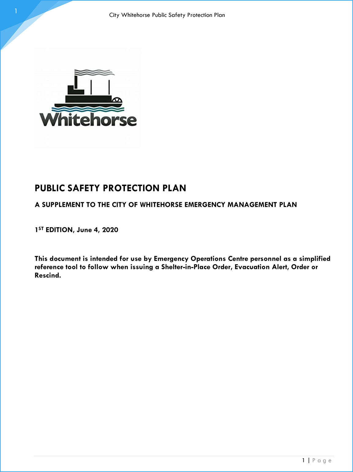 Public Safety Protection Plan Cover